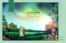 别墅油画宣传海报