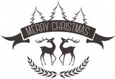 卡通圣诞树圣诞麋鹿PNG元素