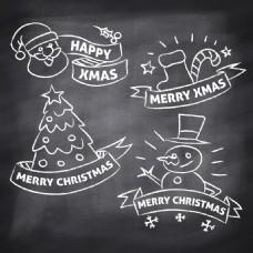 4个卡通英文圣诞标签元素