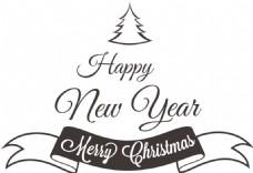 卡通圣诞节新年快乐飘带PNG元素