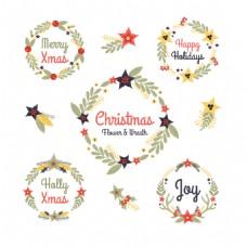 5个圣诞花枝圆环元素图