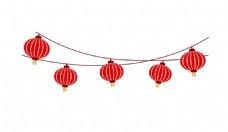 红色中国风灯笼元素