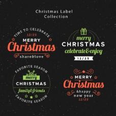 彩色英文圣诞标签元素