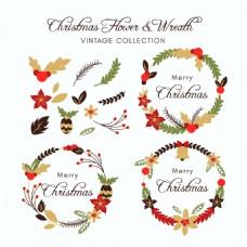 精美五彩圣诞花环装饰元素
