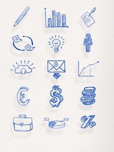 蓝色手绘金融网络商人节元素
