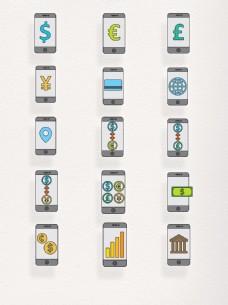 卡通金融手机银行商人节元素