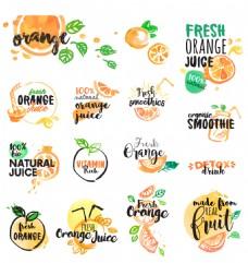 水彩绘美味的橙子图标