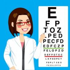 眼科  医生 视力表 矢量 素