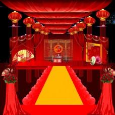 中式婚礼红色顶棚