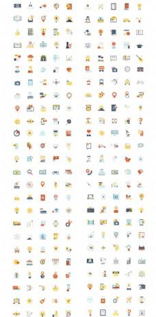 一组现代彩色平面设计图标