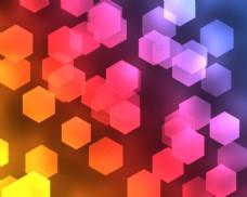 六边形灯光色彩背景图