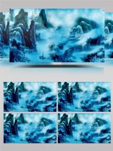 蓝色中国古水墨风景视频素材