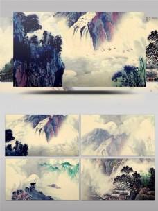 中国风水墨高山流水视频素材