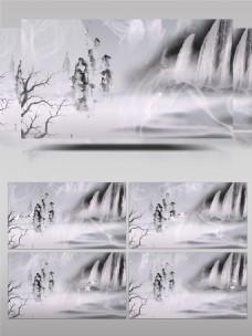 中国风梦幻山水水墨背景视频