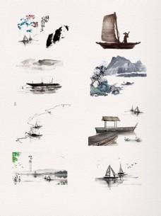 一组水墨中国风小船素材