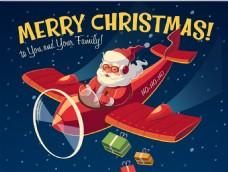 开飞机的圣诞老人插画