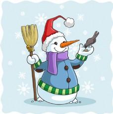 卡通可爱的圣诞雪人插画