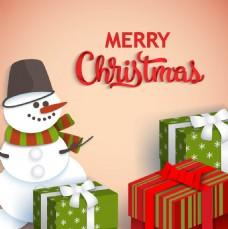 圣诞雪人和礼物元素