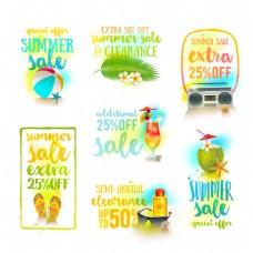 7款精美夏季促销标签矢量素材