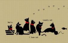 矢量猫卡通装饰背景