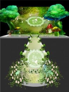 绿色森林风格婚礼效果图设计