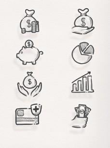 卡通手绘金融货币商人节元素