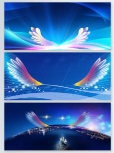 蓝色炫彩翅膀彩色翅膀背景图