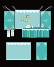 蓝色婚礼甜品台工装设计效果图