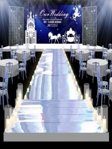 蓝色城堡简约浪漫风格婚礼效果图设计