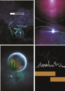 夜空简约炫光科技海报设计背景图