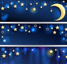 星月童话 雪花 月亮 亮闪光