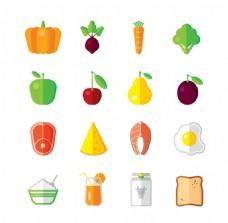 粮食现代色彩矢量平面图标集