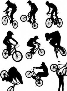 骑行人物剪影