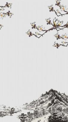 简约中国风冬季海报背景