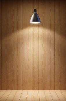 灯光木地板墙壁背景