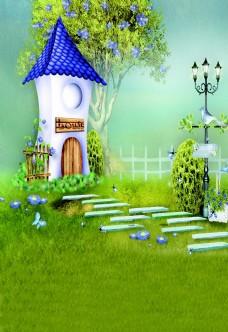 卡通小花园儿童背景大图
