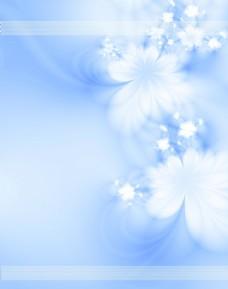 蓝色背景满天星花朵移门图