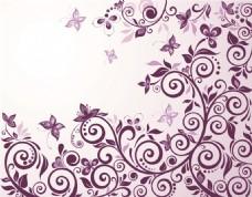 紫色印花植物矢量素材