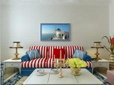 地中海白色砖纹壁纸客厅沙发背景墙效果