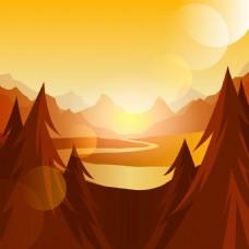卡通远山湖泊日出背景