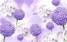 紫色小花电视背景墙