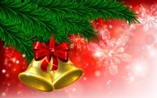 闪耀圣诞节铃铛装饰背景矢量素材