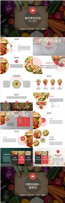 iOS风时尚餐饮美食味道通用PPT模板免费下载