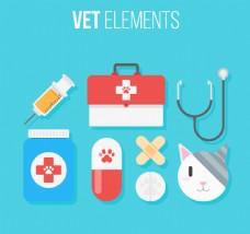 8款精致宠物医院元素矢量素材