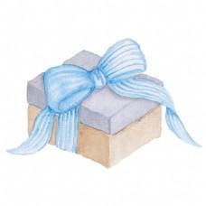 蓝带礼盒透明素材