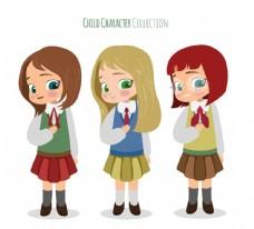 3款卡通大眼睛女学生矢量素材