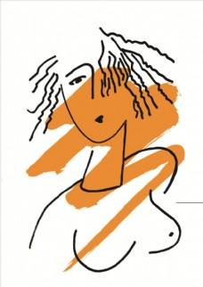 抽象小女孩无框画