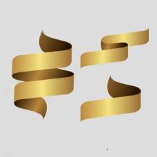 螺旋金色飘带免抠psd透明素材