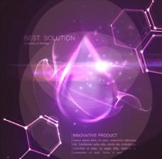 紫色分子结构水滴光效背景
