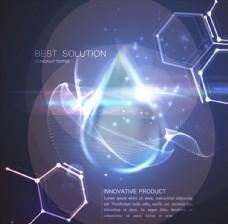 蓝色水滴分子结构光效背景